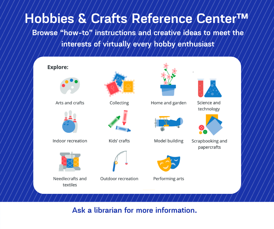 A graphic advertising the Hobbies & Crafts Reference Center for Facebook