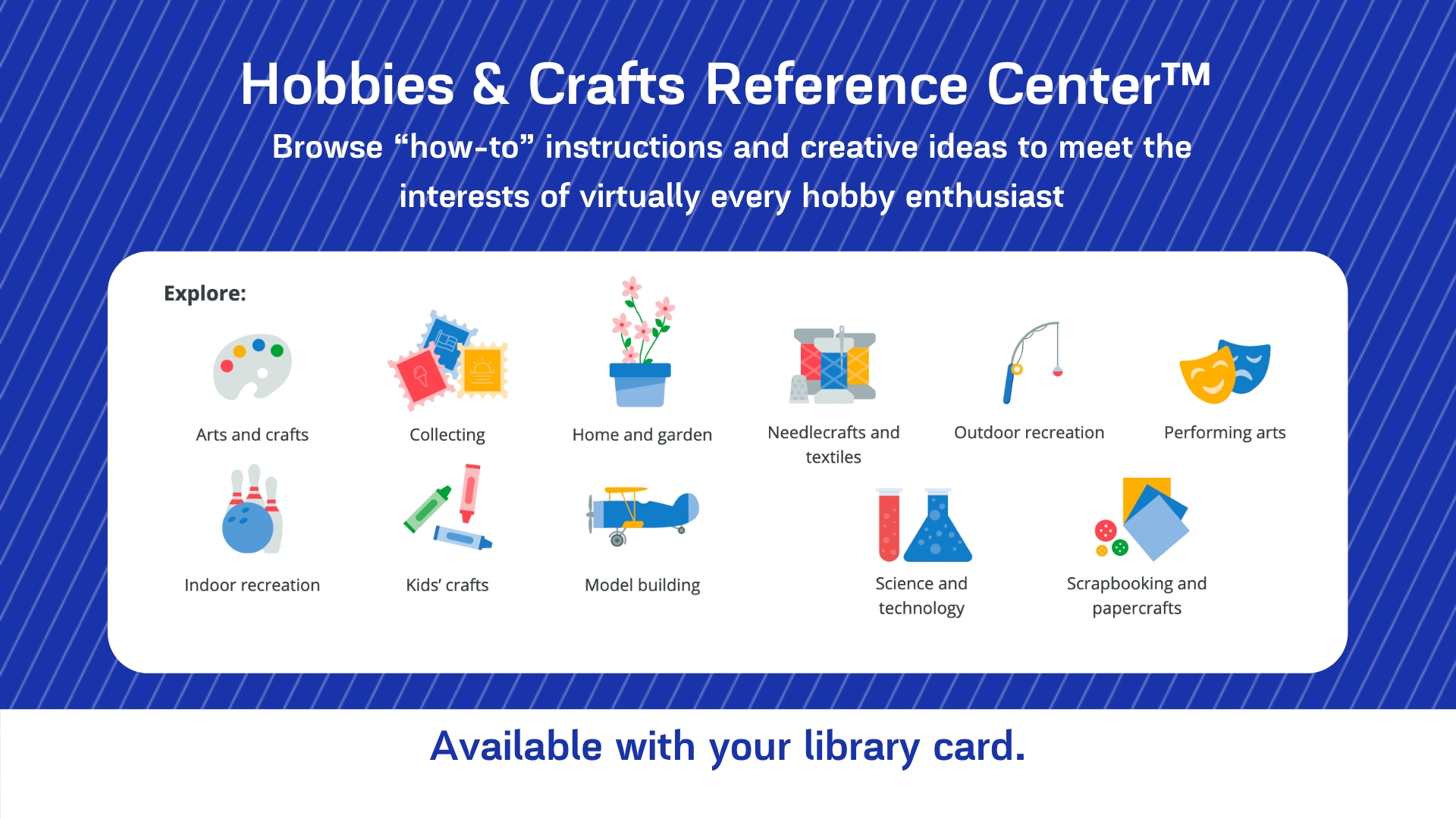 A graphic advertising the Hobbies & Crafts Reference Center for digital signage